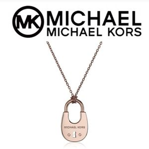 NWT Michael Kors Rose Goldtone Padlock Necklace